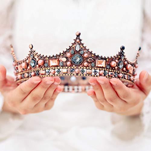 Queen Zubehör Kostüm Beauty - handcess Hochzeit Krone und Diadem Blume Brautschmuck Prinzessin Queen Krone Barock Vintage Strass Kopfband für Braut und Brautjungfer