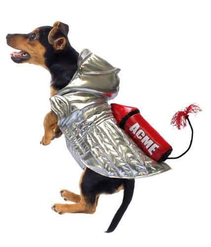Hund Kostüm, ACME Rocket Kostüm in Silber mit großen Rot Rocket und 'beleuchtet' Sicherung. Größe (Supplies Rocket Party)