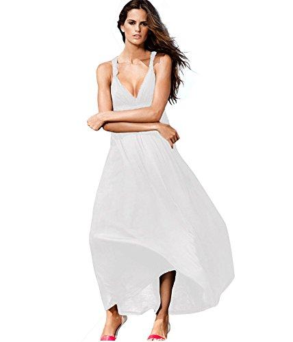 Drasawee Damen A-Linie Kleid One size Weiß