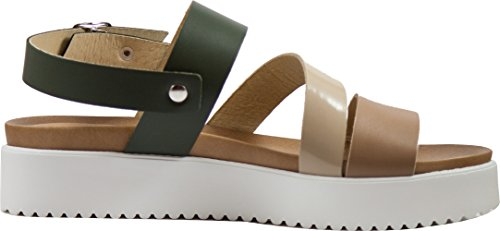 Cristhàlia, Sandali in pelle, Made in Italy verde, sabbia, taupe