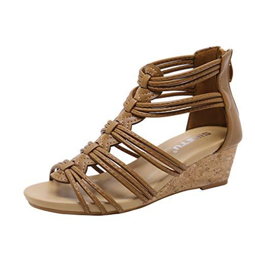 Damen Sommer Bohemia Flach Zehentrenner Sandalen Flache Rückseite Reißverschluss Sandalen Open Toe Ankle Sommer Schuhe für Frauen -
