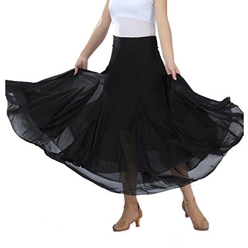 Wgwioo Moderne Waltz Tango Standard Ballroom Kleid Flounce Röcke Skater Rock Wettbewerb Party Damen Rock Long Swing Kleid . Black . F