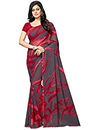Vastrang Sarees Georgette Saree With Blouse Piece (Maroon & Grey_Free Size)