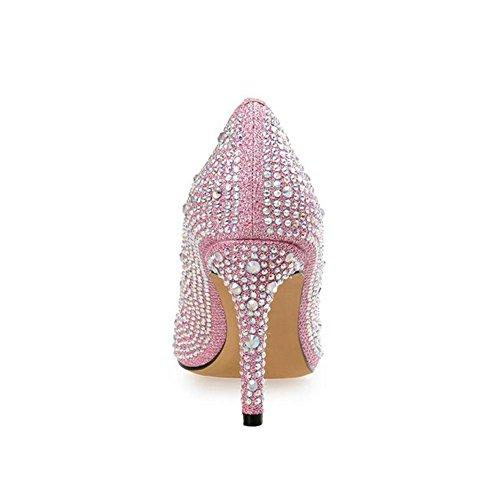 L@YC Donna Tacchi alti Strass Scarpe a Punta Di Palla Da Sposa Dal Naso Pink
