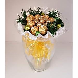 Weihnachtsstrauß mit Pralinen, Strauß, künstlich Winter Handstrauß Blumenstrauß, Winterstrauß, Geschenk zum Advent…