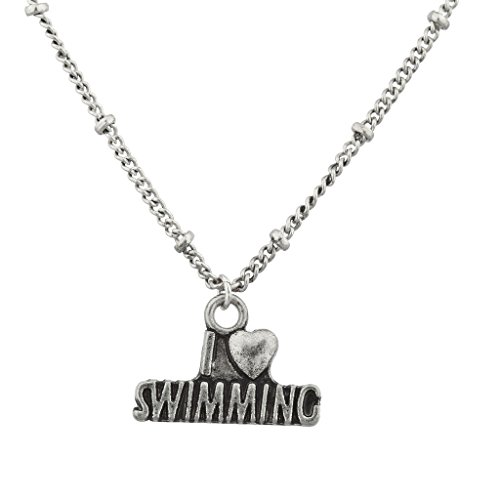 Lux Accessories Burnish Silver Swimming Sports Fan Charm Pendant Necklace