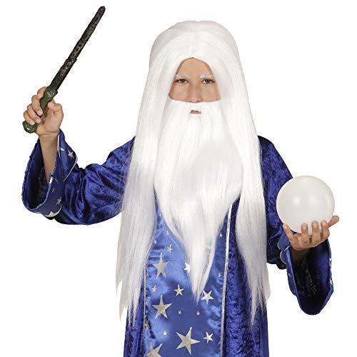 Widmann - Perücke Zauberer mit Bart für Kinder (Disney Merlin Kostüm)