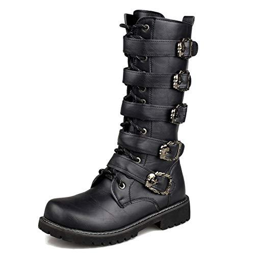 Kalb-leder-lace Up Schuhe (MERRYHE Männer Side Zip Schnalle Lace Up Army Combat Stiefel Runde Zehe PU-Leder Mitte Kalb Motorrad Boot Mode Reitschuh,Black-43)
