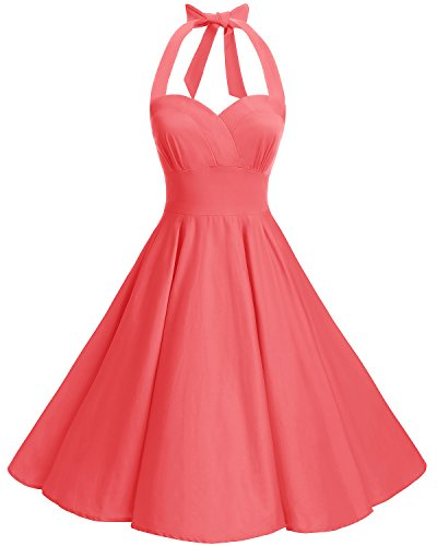 bbonlinedress Neckholder 50er Vintage Pinup Retro Rockabilly Kleid Cocktailkleider Coral 4XL