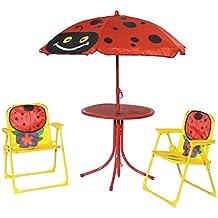 Fachhandel Plus Kinder Gartenmöbel Set 4 Teilig Klappstühle Tisch  Sonnenschirm Marienkäfer