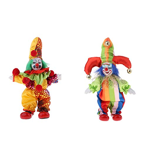 KESOTO 2pcs Clownmann Figuren Puppe mit Clown Kostüm, Ornament für Halloween Tisch Dekoration