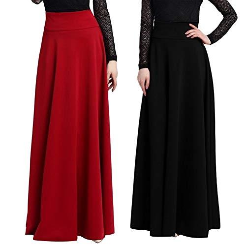 osmanthusFrag Gypsy Fashion Party High WaistLong Maxi Skirt Solid Color Plus Size - Black XXXL