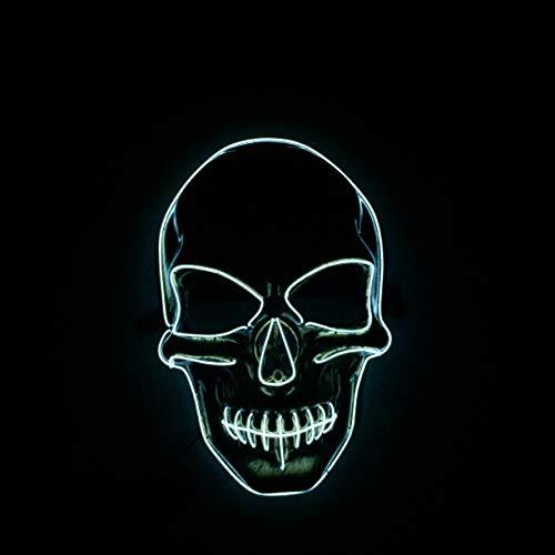 Yool Skelett Styling LED-Glühmaske, Halloween-Maske Beleuchtet Lustige Maske Großen Festival Cosplay Kostüm Party-Maske In der Dunkelheit,D