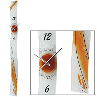 AMS 9373 Quartz Wall Clock = 1.0 inches Artistically handcrafted Made Flat Glass orange