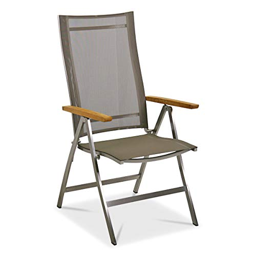 MONBEA Venus Verstellsessel Stuhl Gestell Edelstahl Hochwertiger Gartenstuhl Mit Batyline