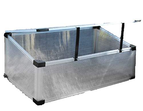 Slide and grow 2squared serretta da giardino in policarbonato alveolare spessore 4mm lunghezza: 97 cm profondita 57 cm altezza 28/37 cm con profili in plastica trasparente