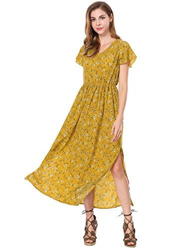 Allegra K Ladies' Summer V-Neck Short Sleeves Split Sides Evening Floral Maxi Dress