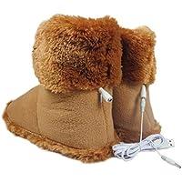 Zapatillas de calefacción eléctrica USB de 5V 2A, Calentadores para los pies, Zapatos con calefacción para Clima frío Zapatos cálidos de Invierno Botines de Calentamiento Solución para pies fríos