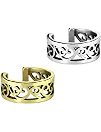 beyoutifulthings Ohr-klemme FILIGRANES HERZ CUT OUT Ohringe Ohr-ringe Ohr-clip Fake-Piercing Messing Silber Gold