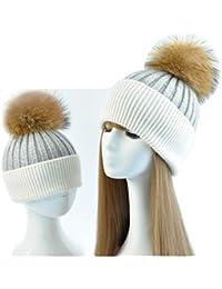 BrillaBenny 2 Cappelli Cashmere PON PON Pelliccia Mamma e Figlia  Bianco Grigio Cappellino Cuffia Donna c107a5aa553f