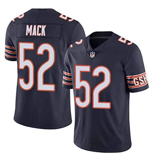 Xiaodun77 Maglia da Rugby Uomo Chicago Bears 52 Mack Maglia da Rugby Uomo Manica Corta T-Shirt Abbigliamento Sportivo Outdoor Tessuto Traspirante Abbigliamento Sportivo,Nero,L