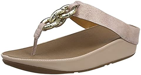 Fitflop Superchain Leather Toe-Post, Sandales Bout ouvert femme - Beige (Nude), 38 EU