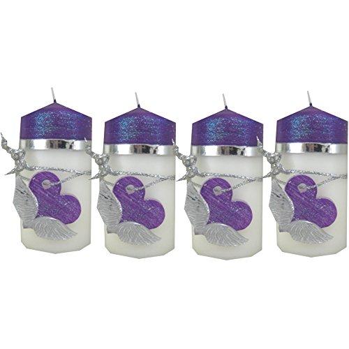 Weihnachten Kerzen Set 4 Stück Stumpenkerzen Adventskerzen 100x50 Dekokerzen Kerzen für Adventskranz Tischkerzen Herz Engelflügel IW01