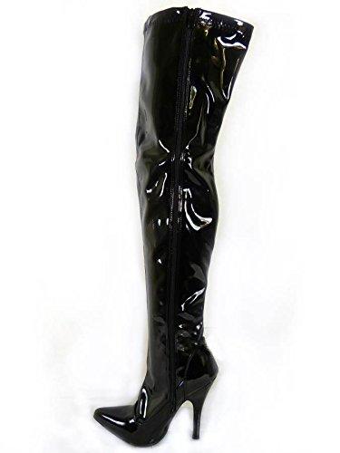 Mesdames Femme Sexy sur le genou cuisse haut talon Stiletto Bottes Stretch Taille 45678Designs Différents Black Patent (Shiny)