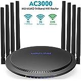 WAVLINK AC3000 Tri-Band Wi-Fi Router, Gigabit Wireless Router with 8 x 5dBi Omni-Directional Antennas/ 4 Gigabit LAN Ports (802.11ac Wave 2, 4X4MU-MIMO, USB 3.0, Guest WIFI, QoS)