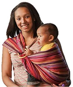 Mamaway Baby Ring Sling | Carrier | Birth to 3 Yr Breastfeeding | Lightweight and Strong Nylon Rings | Tested to Hold 50kg for 24 Hrs | Baby Shower Gift| One Size Fits All | Rainbow Mocca