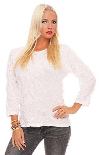 Zarmexx Damen Langarm Shirt Crash Optik Crinkle Baumwollshirt Oberteil Viele Farben (M≙38, Weiß) (Crinkle-bluse Shirt)