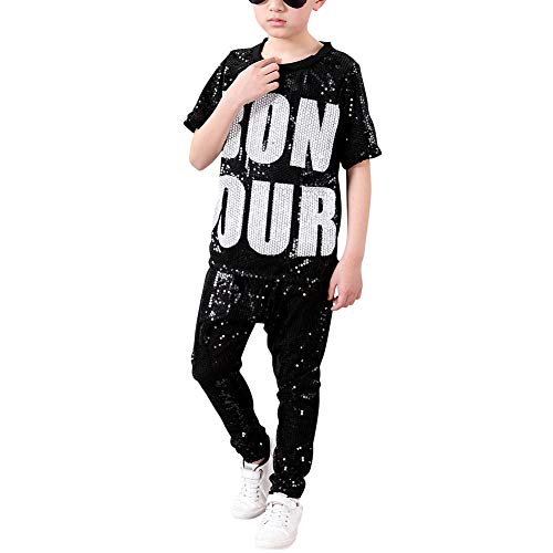 Tenthree Kinder Mädchen Pailletten Kleidung - Tanzsport Bekleidung Dancewear Streetwear Sets Rapper Kinder Modern Jazz Hip-Hop ()
