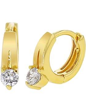 XS Gold vergoldet 18K Little weiß Kristall Hoop Huggie Baby Mädchen Ohrringe 8mm