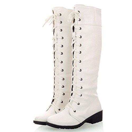 RAZAMAZA Stivali Alti Donna Modello Scarpe Stringate Con Tacco Blocco White