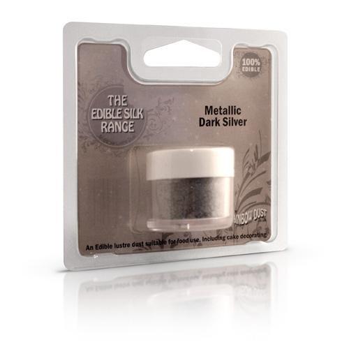 Rainbow Dust Puderfarbe RD Edible Silk - Metallic Dark Silver 3g