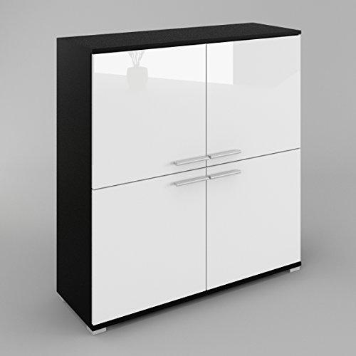wiki-commode-buffet-dressoir-avec-4-portes-le-corps-noir-mat-le-front-blanc-haute-brillance
