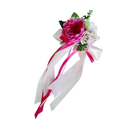 LOVIVER Hochzeit Auto Spiegel Griff Stuhl Dekorationen Kit Seide Blume Band Party - Rosa, 36 x 15 x 8 cm (Seide Blume-kit)