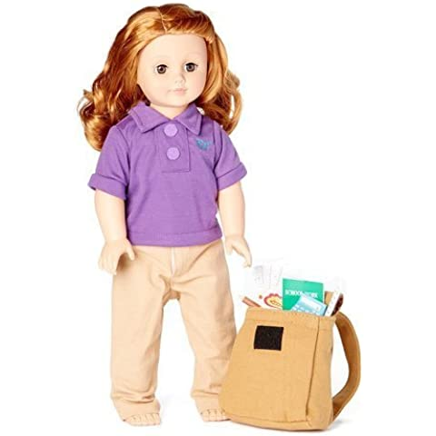 18 Inch Doll School Days Clothing & Accessories Set, Folder, Notebook, Binder Sheets, Play Calculator, Ruler, Pencil, Backpack, Jersey Polo and Khaki Pants Accessories Fit 18 American Girl Dolls by Laurent Doll