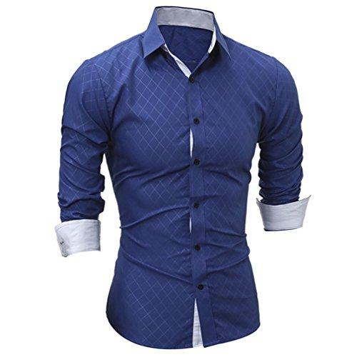 Amlaiworld Sommer-Plaid-Druckhemd Oberseite für Mann, modernes und lustiges langärmliges T-Shirt Blau