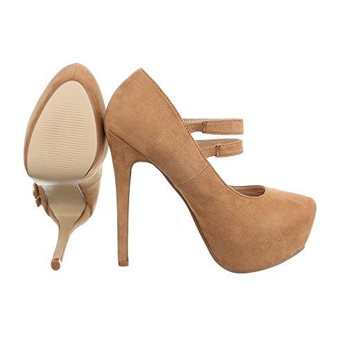 High Heel Damenschuhe Plateau Pfennig-/Stilettoabsatz High Heels Klettverschluss Ital-Design Pumps Camel