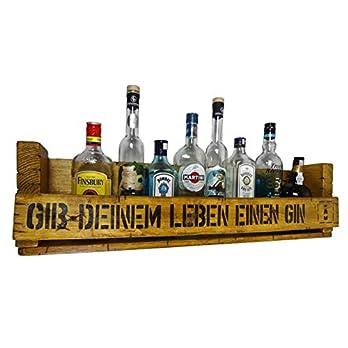 """"""" Gib deinem Leben einen Gin"""" SHaBBY ViNTaGe PaLeTTeNReGaL (HxLxT: 23x8ox9,5cm) im Frachtkisten Style aus Echtholz. Gin Rum Whisky Wein Regal Wandbar. personalisierbar"""