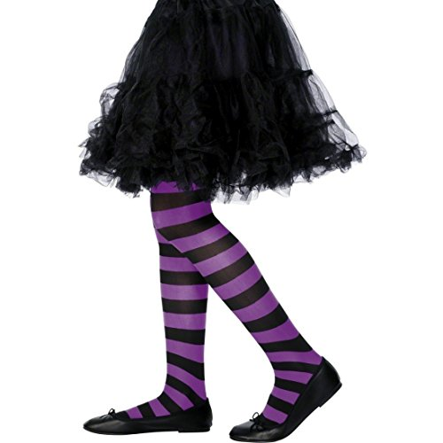 NET TOYS Kinderstrumpfhose Strumpfhose gestreift lila-schwarz Tights Geringelt Feinstrumpfhose bunt Kinder Leggings Streifenlook Kinderkostüm Accessoire (Gestreiften Und Strumpfhosen Schwarz Lila)