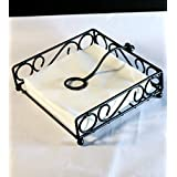 Worthy Shoppee Decorative Wooden and Wrought Iron Tissue Holder Napkin Holder Stand