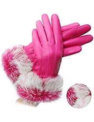 Pelo de engrosamiento impermeable mantener caliente conejo de invierno guantes de cuero , 4