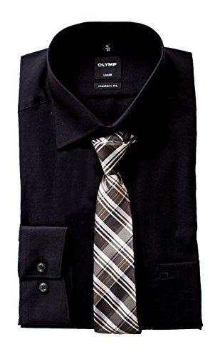 OLYMP Hemd, Schwarz Modern Fit mit Passender Krawatte, Bügelfrei (46) (Fit Krawatte)