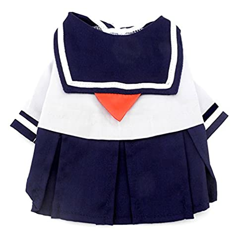 SMALLLEE_LUCKY_STORE Pet Small Dog Clothes for Girls Navy Captain Sailor Costume Dog Dresses Fresh Style Student Uniform M