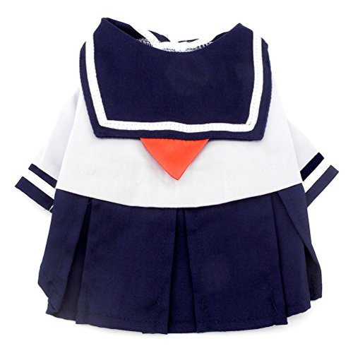 smalllee _ Lucky _ store Kleiner Hund Kleidung für Mädchen Marineblau Captain Sailor Kostüm Hund Kleider Frischer Stil Student Uniform (Halloween Kostüme Sailor Mädchen)