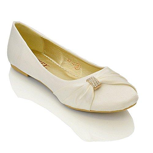 Essex glam scarpa donna satin matrimonio festa (uk 6 / eu 39 / us 8, avorio satin)