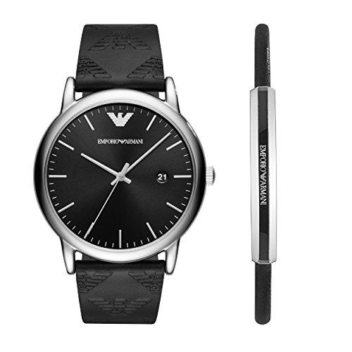 Emporio Armani Herren Analog Quarz Uhr mit Leder Armband AR80012
