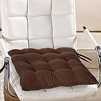 وسادة كرسي مزخرفة من القماش القطني من كوبر اندستريز، دعم خلفي، وسادة مقعد واربطة وخياطة يدوية الصنع، 14انش × 14انش (بني)
